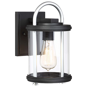 Keyser Black and Silver 11-Inch One-Light Outdoor Wall Lantern
