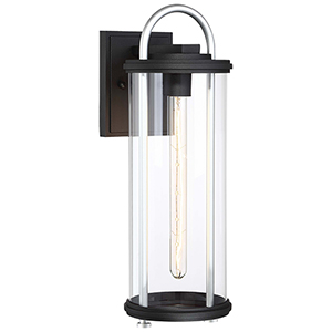 Keyser Black and Silver 18-Inch One-Light Outdoor Wall Lantern
