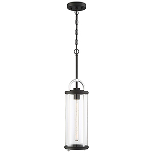 Keyser Black and Silver 26-Inch One-Light Outdoor Pendant