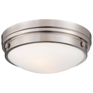 Brushed Nickel Two-Light Flush Mount