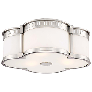 Polished Nickel 16-Inch Three-Light Flush Mount