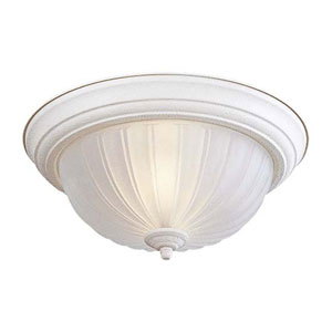 Textured White Two-Light Flush Mount with Frosted Melon Glass