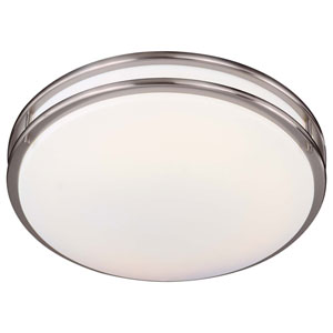 Brushed Nickel Medium Fluorescent Flush Ceiling Light