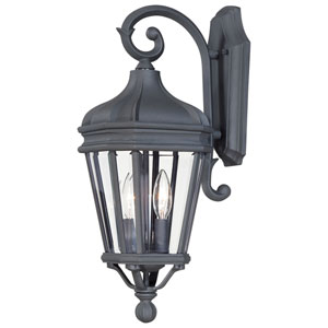Harrison Black Two-Light Outdoor Wall Mount with Clear Beveled Glass