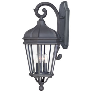 Harrison Black Three-Light Outdoor Wall Mount with Clear Beveled Glass