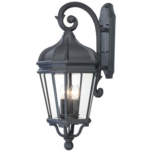 Harrison Black Four-Light Outdoor Wall Mount with Clear Beveled Glass
