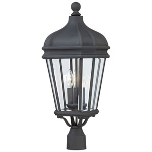 Harrison Black Three-Light Outdoor Post Mount with Clear Beveled Glass