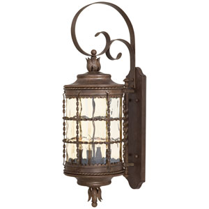 Mallorca Vintage Rust Four-Light Outdoor Wall Mount with Champagne Hammered Glass