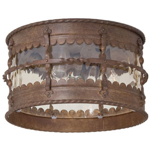 Mallorca Vintage Rust Three-Light Flush Mount Light