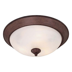 Antique Bronze Large Fluorescent Flush Ceiling Light