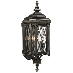 Bexley Manor Black with Gold Highlights Four-Light Outdoor Wall Mount