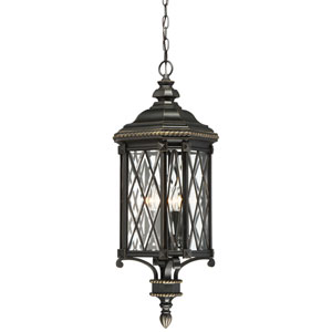 Bexley Manor Black with Gold Highlights Four-Light Outdoor Pendant