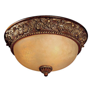 Belcaro Walnut Three-Light Flush Mount