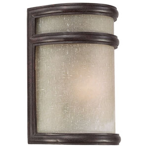 Delshire Point Corona Bronze One-Light Outdoor Wall Mount with White Linen Glass