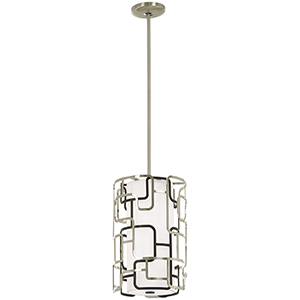 Alecias Tiers Brushed Nickel and Bronze Patina 10-Inch LED Pendant