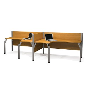 Pro-Biz Cappuccino Cherry 43-Inch High Double Side-by-Side L-Desk Workstation