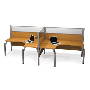 Pro-Biz Cappuccino Cherry 55.5-Inch High Double Side-by-Side L-Desk Workstation
