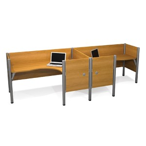 Pro-Biz Cappuccino Cherry Double Side-by-Side L-Desk Workstation with Melamine Privacy Panels