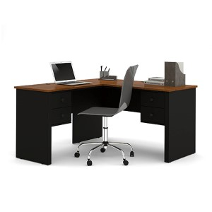 Somerville Tuscany Brown and Black L-Shaped Desk