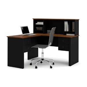 Somerville Tuscany Brown and Black L-Shaped Desk with Hutch