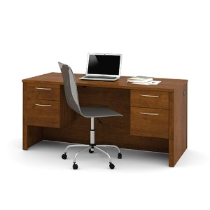 Embassy Tuscany Brown Executive Desk with Dual Half Pedestals