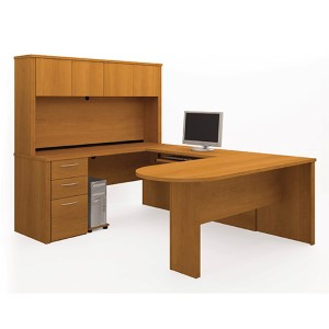 Embassy Cappuccino Cherry 100.3-Inch Wide U-Shaped Workstation Kit