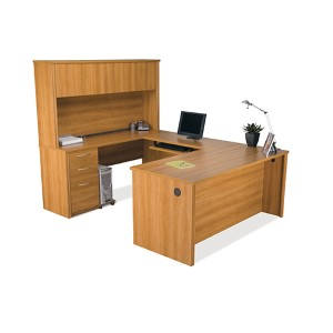 Embassy Cappuccino Cherry 91.7-Inch Wide U-Shaped Workstation Kit