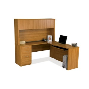 Embassy Cappuccino Cherry 70-Inch Wide L-Shaped Workstation Kit
