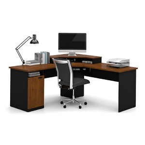 Hampton Tuscany Brown and Black Corner Workstation