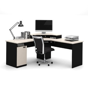 Hampton Sand Granite and Charcoal Corner Workstation