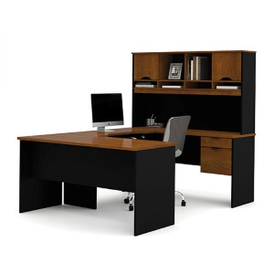 Innova Tuscany Brown and Black U-Shaped Workstation
