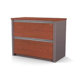 Connexion Bordeaux and Slate 36-Inch Length Assembled Lateral File Cabinet