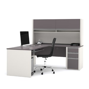 Connexion Slate and Sandstone L-Shaped Workstation Kit with Hutch