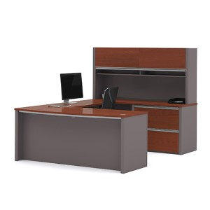Connexion Bordeaux and Slate U-Shaped Workstation Kit with Two Large Paper Shelves