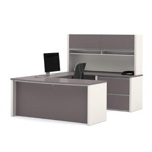 Connexion Slate and Sandstone U-Shaped Workstation Kit with Two Large Paper Shelves