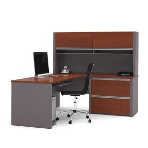 Connexion Bordeaux and Slate 65.9-Inch High L-Shaped Workstation Kit