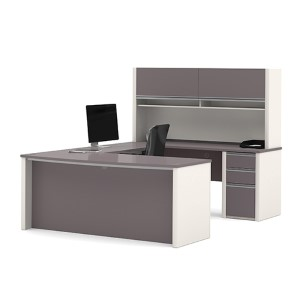 Connexion Slate and Sandstone 65.9-Inch High U-Shaped Workstation Kit with Two Utility and One File Drawer