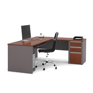Connexion Bordeaux and Slate 30.4-Inch High L-Shaped Workstation Kit with Two Utility and One File Drawer