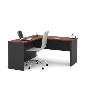 Prestige Plus Bordeaux and Graphite L-Shaped Workstation