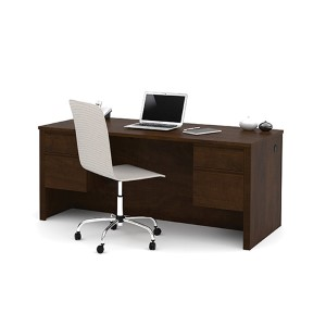 Prestige Plus Chocolate Executive Desk with Dual Half Pedestals