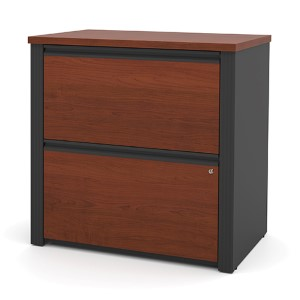 Prestige Plus Bordeaux and Graphite 30-Inch Wide Lateral File Cabinet