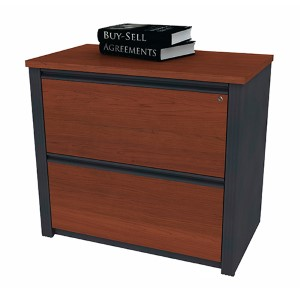 Prestige Plus Bordeaux and Graphite 36-Inch Length Assembled Lateral File Cabinet