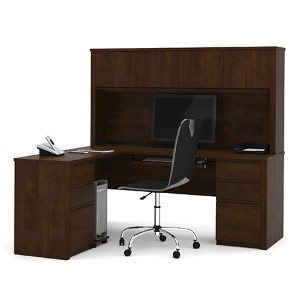 Prestige Plus Chocolate L-Shaped Workstation Kit