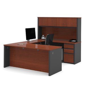 Prestige Plus Bordeaux and Graphite 66.8-Inch High U-Shaped Workstation Kit