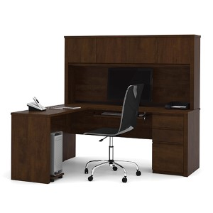 Prestige Plus Chocolate L-Shaped Workstation Kit with Single Pedestal