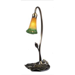 One-Light Lily Amber/Green Accent Lamp