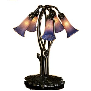 Five-Light Lily Pink/Blue Accent Lamp