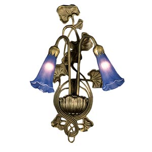 Two-Light Lily Blue Sconce