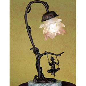 Bronze Swinging Figurine Accent Lamp