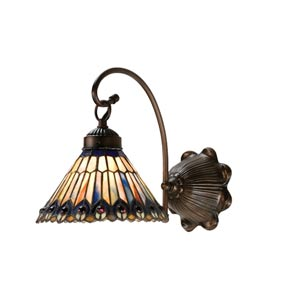 8-Inch Tiffany Jeweled Peacock One-Light Wall Sconce